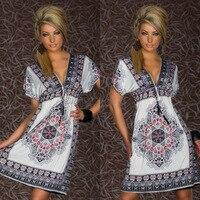 Promosyon dış ticaret büyük boy seksi süt ipek v yaka Bohemian elbise plaj elbise Baskılı