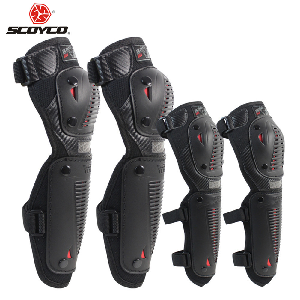 SCOYCO Motorcycle Knee Eblow Pads Protector Motor Racing Protective Motocross Guards K1036 KneePads Motocicleta Moto CE Sports scoyco k11h11 motorcycle sports knee elbow protector pad guard kit black