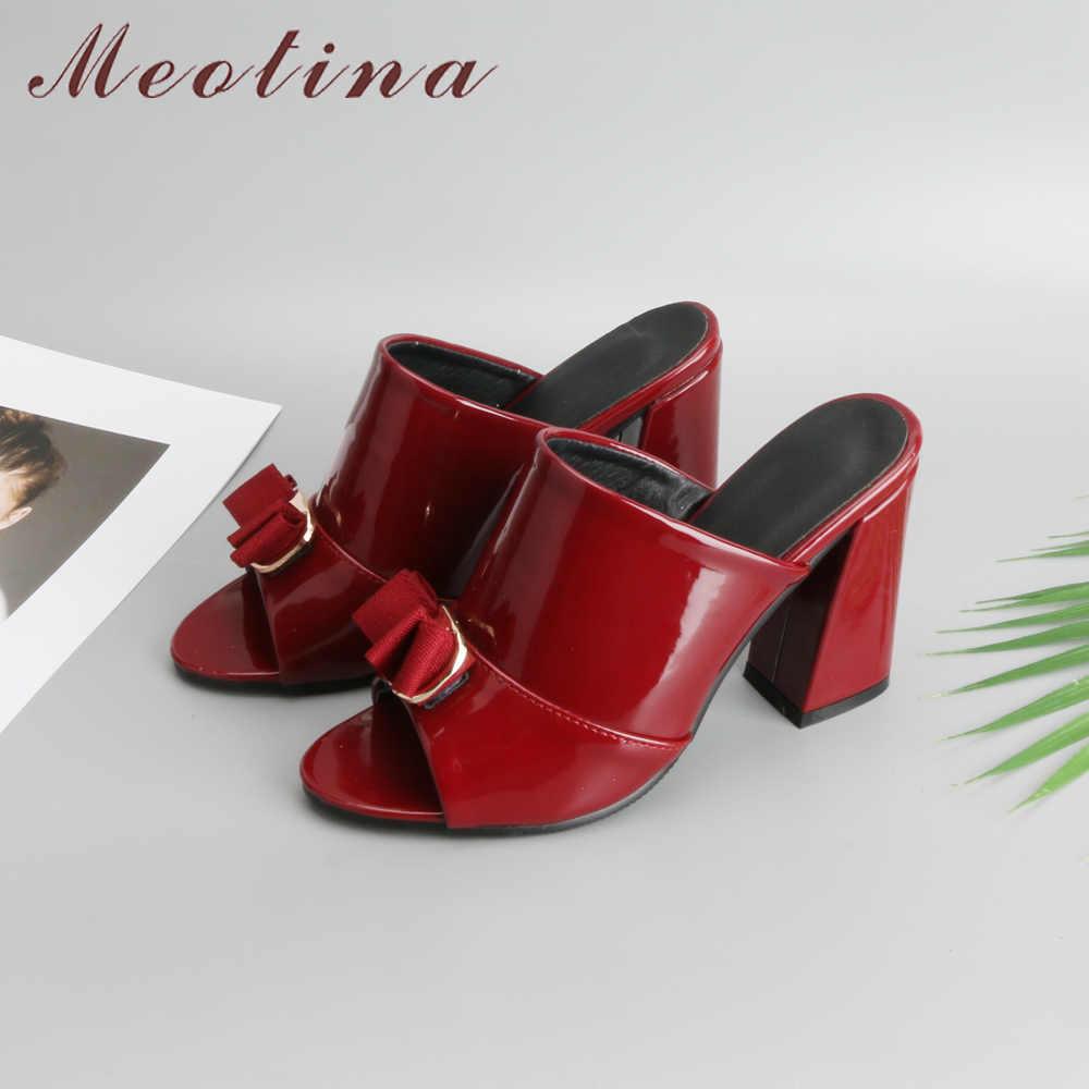 Meotina kadın ayakkabı yaz yüksek topuklu Peep Toe bayanlar parti ayakkabıları yay bloğu topuk kadın terlik açık kırmızı siyah büyük boy 34-43