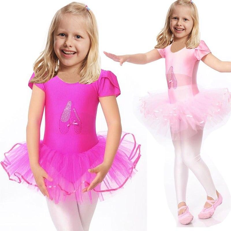61c9d6fbf 2017 niñas Body de Ballet niños azul blanco danza leotardo de manga corta  ropa de gimnasia