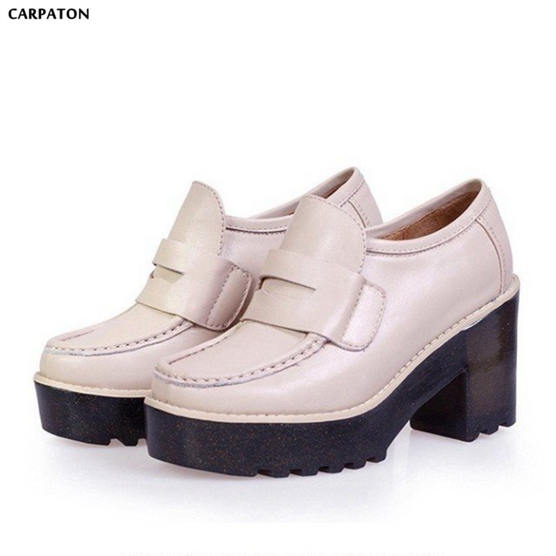 Carpaton 2018 Newest Leather Surface Square heels Rubber heel Women Casual Shoes Folk Insole Slip-On Red Pink Black Beige Colors wholesale 5 beige rubber soft front insole for ladies fit any shoes