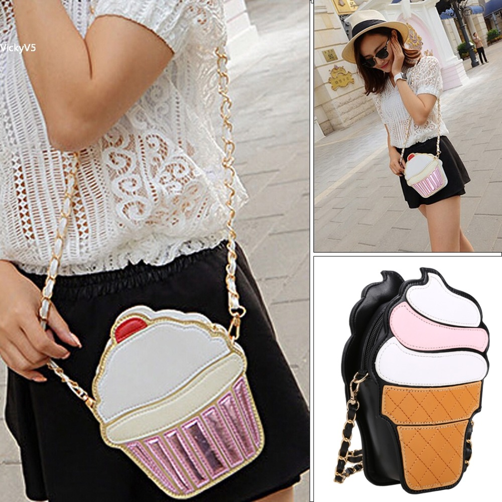 Hot New Womens Gold Chain Cute Cartoon bags Synthetic Leather Cupcake Icecream Shoulder Bag Messenger Bag Satchel Purse