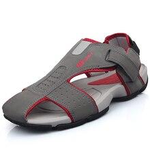 Charme 2017 Vente Chaude Véritable Plage de Sandales En Cuir Pour Homme 2017 Nouveaux Loisirs D'été Respirant Bout Rond Chaussures de Marche