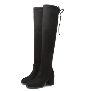 Image 5 - 2019 Flock Leather Women Over The Knee Boots Lace Up sexy Square High Heels Women Shoes Flats Winter Boots Warm Plus Size Brand