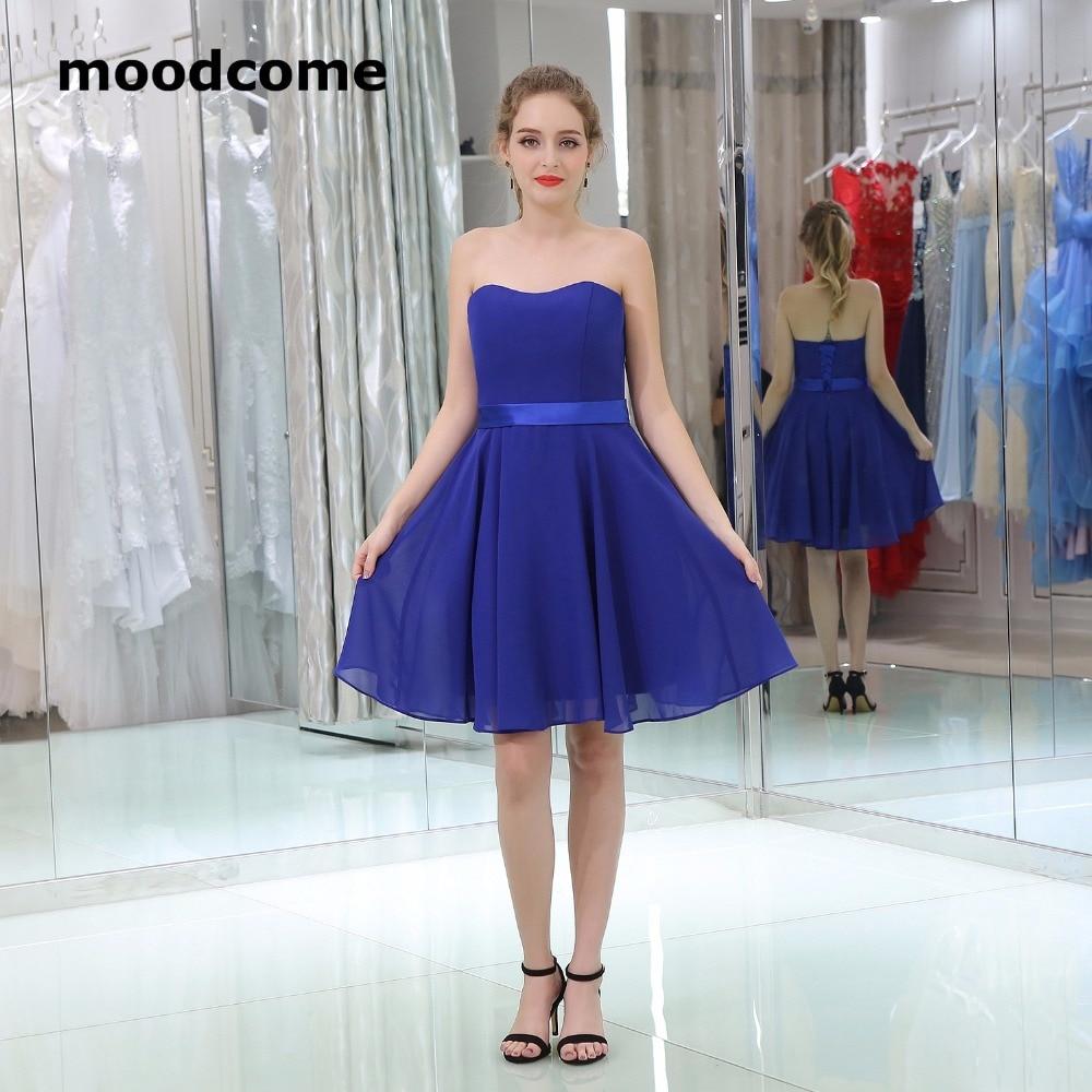 2018 Simple Cheap Bridesmaid Dresses Chiffon Knee Length