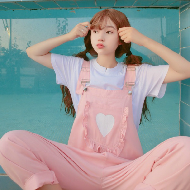 2018 Autumn Korea Women the New soft sister kawaii pink printing Kangaroo pocke bib Harajuku big   Jumpsuit