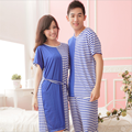 GRLBOBRA 2017 New Summer Couple Pajamas Women Men Short-sleeve Bamboo Fiber Pyjamas Sets Cozy Casual Patchwork Sleepwear 030533