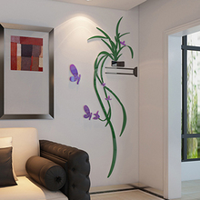 DIY Vase Flower Tree Crystal Arcylic 3D Wall Stickers Home Decor DIY Home Room TV Decor Vinyl Decal Mural