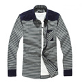 2015 Fashion Men Black and White Plaid Long Sleeve Shirts Quality Casual Slim Patchwork Shirts Male corduroy Men Clothing China