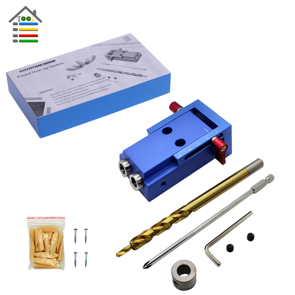 Pocket Hole Jig Kit Woodworking Drill Bit 9.5mm with Stop Collar Pilot Wood Drilling Hole Saw For Kreg Manual Master System woodworking tool pocket hole jig woodwork guide repair carpenter kit system with toggle clamp and step drilling bit k527