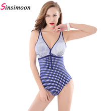 купить summer grid plaid print bathing suits one piece halter backless polka dot swimsuit plus size big cup high cut swimwear trikinis  по цене 1152.82 рублей