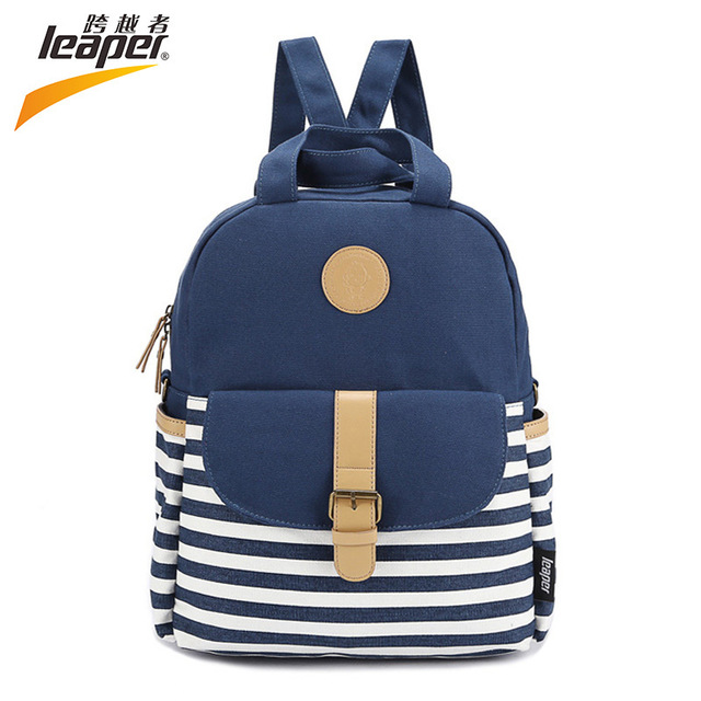 792e789d594 LEAPER Brand Shoulder School Bags For Teenage Girls Preppy Style Backpack  Canvas Bags For Teenagers Striped