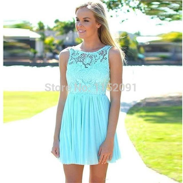 2016 Summer Beach Coral Turquoise Lace Bridesmaid Dress For Weddings ...