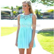 2016 Summer Beach Coral Turquoise Lace Bridesmaid Dress For Weddings In Stock Cheap vestido madrinha Short Prom Party Dress Gown