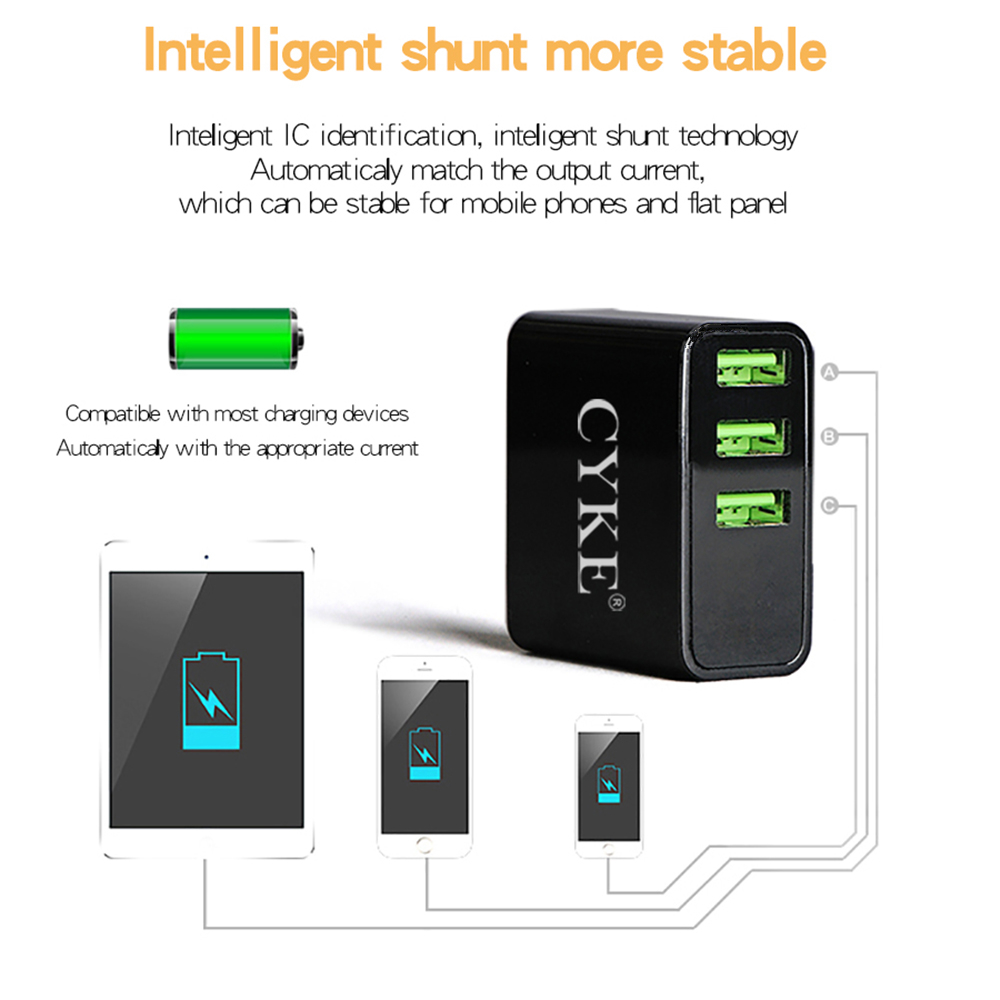 CYKE Universal 3 Ports LED Display Travel Wall Chargers Fast Charging USB Charger For iPhone All Mobile Smart phone For ES RU in Mobile Phone Chargers from Cellphones Telecommunications