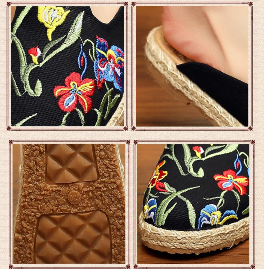 Image 5 - women's espadrille Embroider shoes Comfortable slippers Ladies Womens Casual Shoes Breathable Flax Hemp Canvas Blue Flamingo-in Women's Flats from Shoes