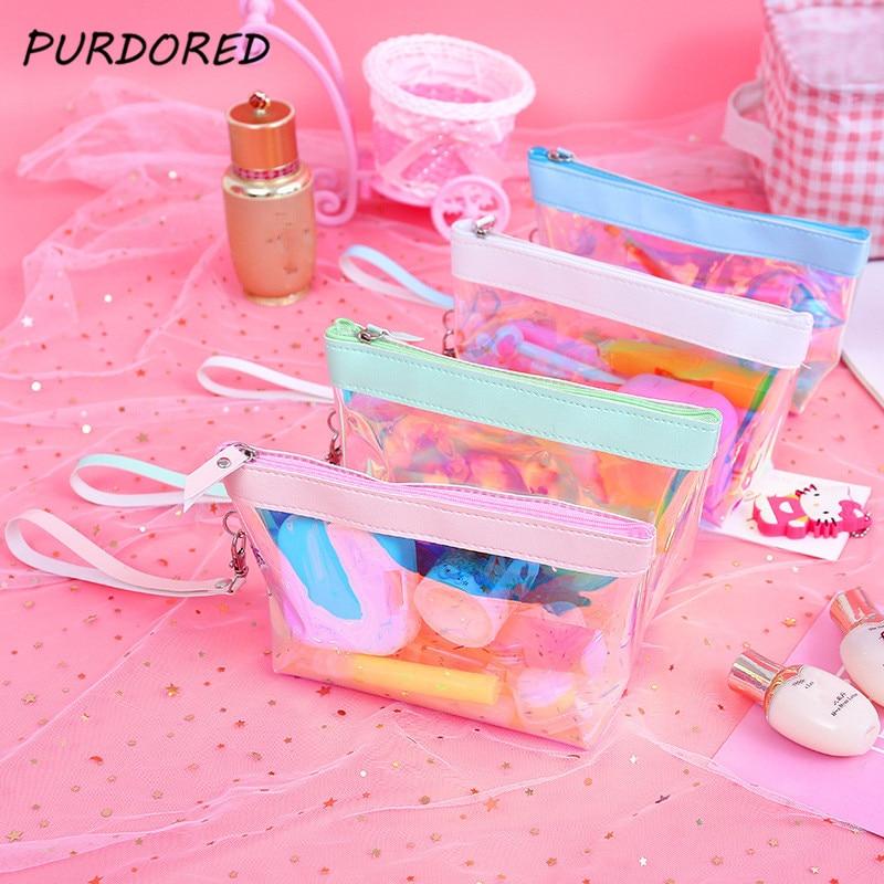PURDORED 1 pc Laser Makeup Bag Women Travel Clear Cosmetic Bag Makeup Organizer kosmetyczka Toiletry Kit Wash Bag Dropshipping