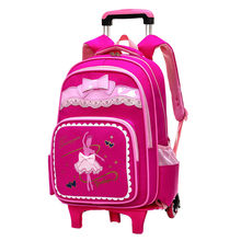 Brand Kids Travel Trolley Backpack On wheels Girl's Trolley School bags Children's Travel luggage Rolling Bag School Backpacks(China)