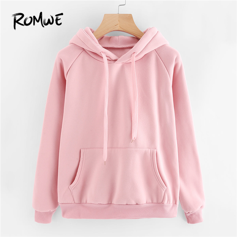 ROMWE Casual Pink Sweatshirt Kangaroo Pocket Drawstring Hoodie Pullovers  Fall Women Clothing Long Sleeve Cute Sweatshirts