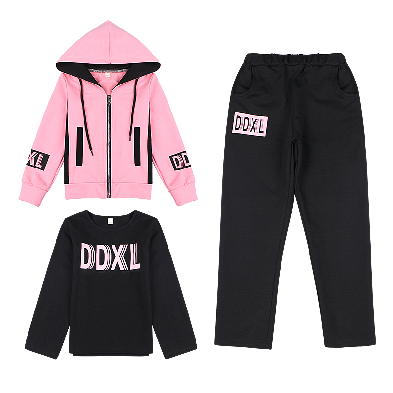 2017 autumn girls candy color clothes long sleeve 3 piece sets tops hoodie pants outfits kids hooded tracksuits jogging suits
