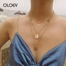 OLOEY Bohomian Womens Necklace Creative Shell Pendants Multi-Layer Necklaces Fashion Geometric Choker Jewelry Accessories Gifts