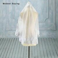 High Quality Simple Short Sparkly Lace Wedding Veils 2017 Short White Garden Bridal Veils Wedding Accessories velo novia V68