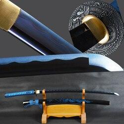Brandon Spade Samurai Giapponese Katana Spada di Alta Acciaio Al Carbonio Sharp Blu Lama Battaglia Pronto Spada del Drago Guaina Espadas Coltello