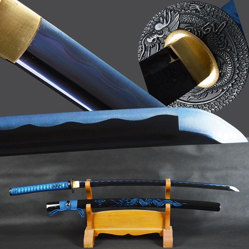 Brandon Swords Japanese Samurai Katana Sword High Carbon Steel Sharp Blue Blade Battle Ready Sword Dragon