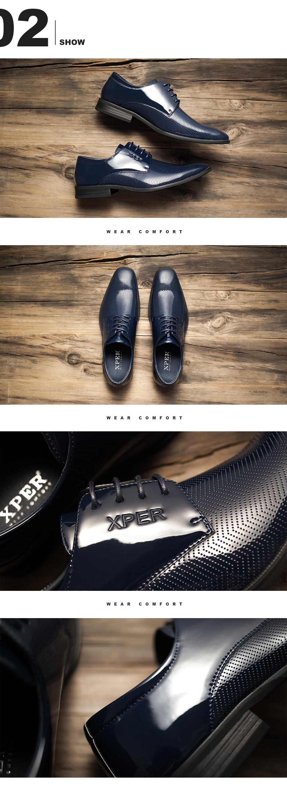XPER Brand New Arrival Fashion Men Shoes Party and Wedding Men Dress Shoes Blue Formal Male Oxford Shoes XAF86D27
