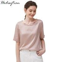 Hodisytian летние женские футболки из натурального шелка Элегантные повседневные Вязаный топ рубашки с круглым вырезом с коротким рукавом Топы