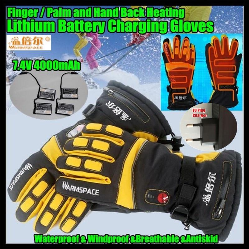 4000MAH Smart Electric <font><b>Heated</b></font> <font><b>Gloves</b></font>,Super Warm Outdoor Sport Skiing <font><b>Gloves</b></font> Lithium <font><b>Battery</b></font> 4 Finger&#038;Palm&#038;Hand Back Self Heating