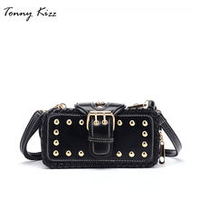 57569c18e82c Desigual bags for women Korean Punk Rivet Leather Clip bag Mini handbag  Ladies Sling Retro 3 layers Punk Crossbody Shoulder Bag