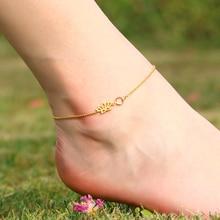 3UM Lotus Flower Anklet Custom Personalized 12 Month Birthstone Charm Sandals Beach Barefoot Summer Yoga Anklet Birthday Gift
