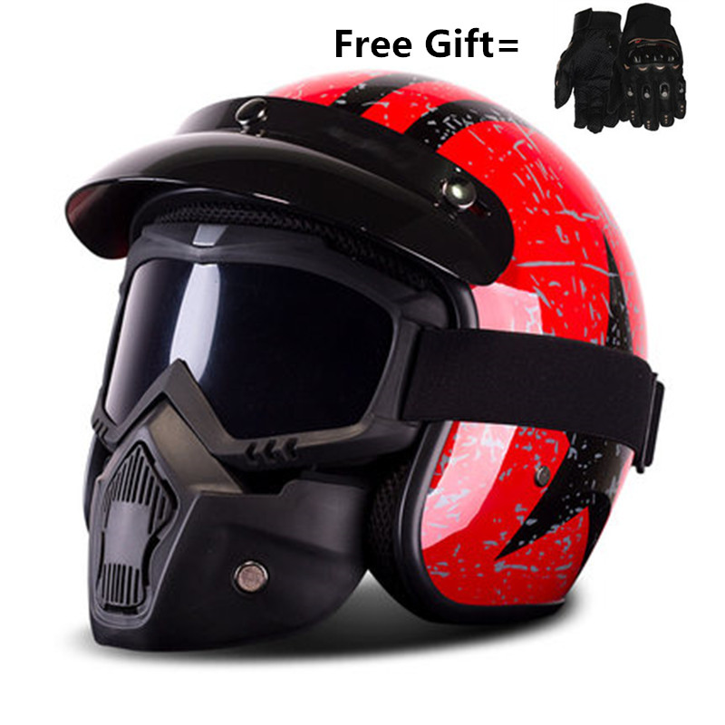 HOT SELL Free shipping BYE Open-Face Motorcycle Helmet ( Gloss/gloss White/Black/Red, Large)