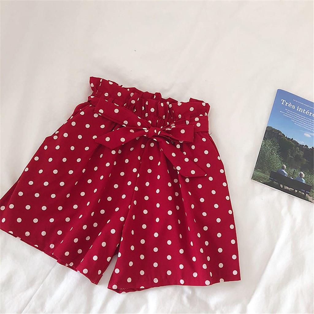Shorts Summer Spodenki Damskie Short Femme Polka Dot Shorts Lace 2019 Casual High Waist Beach Elasticity Shorts шорты женские Z4