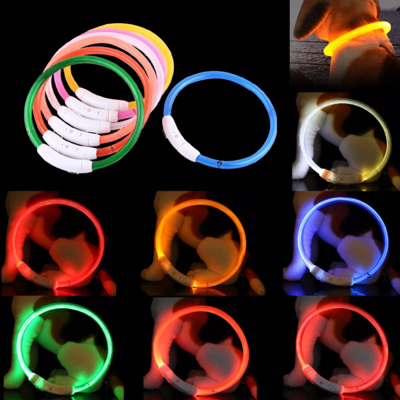 Newest Led Pet Dog Collar Rechargeable Tube Flashing Night Dog Collars Luminous Safety Puppy Cat Collar Light Pets Accessories