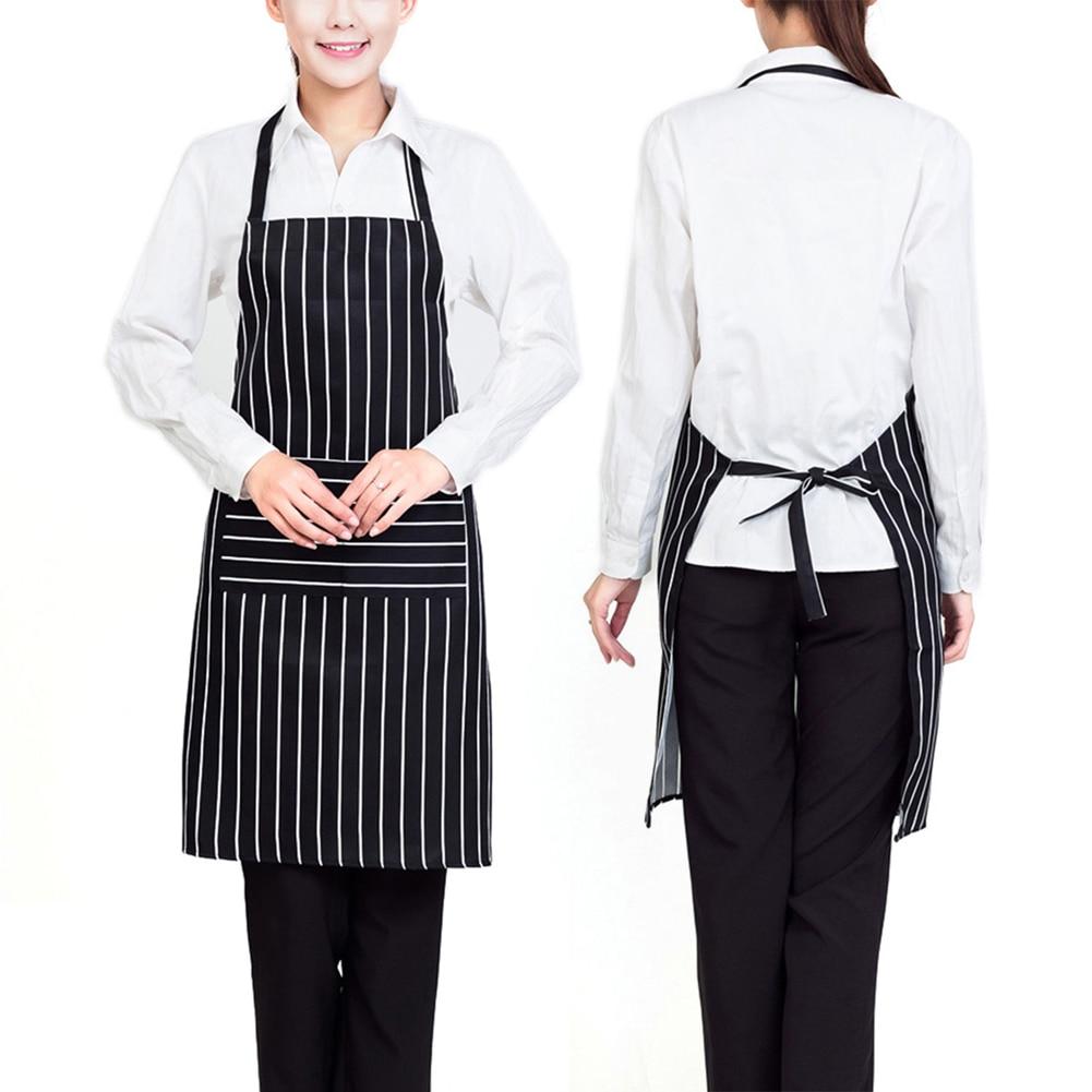 Plain white kitchen apron - Plain Stripe Kitchen Apron With Front Pocket Chefs Butchers Apron For Cooking Baking Tablier De Cuisine