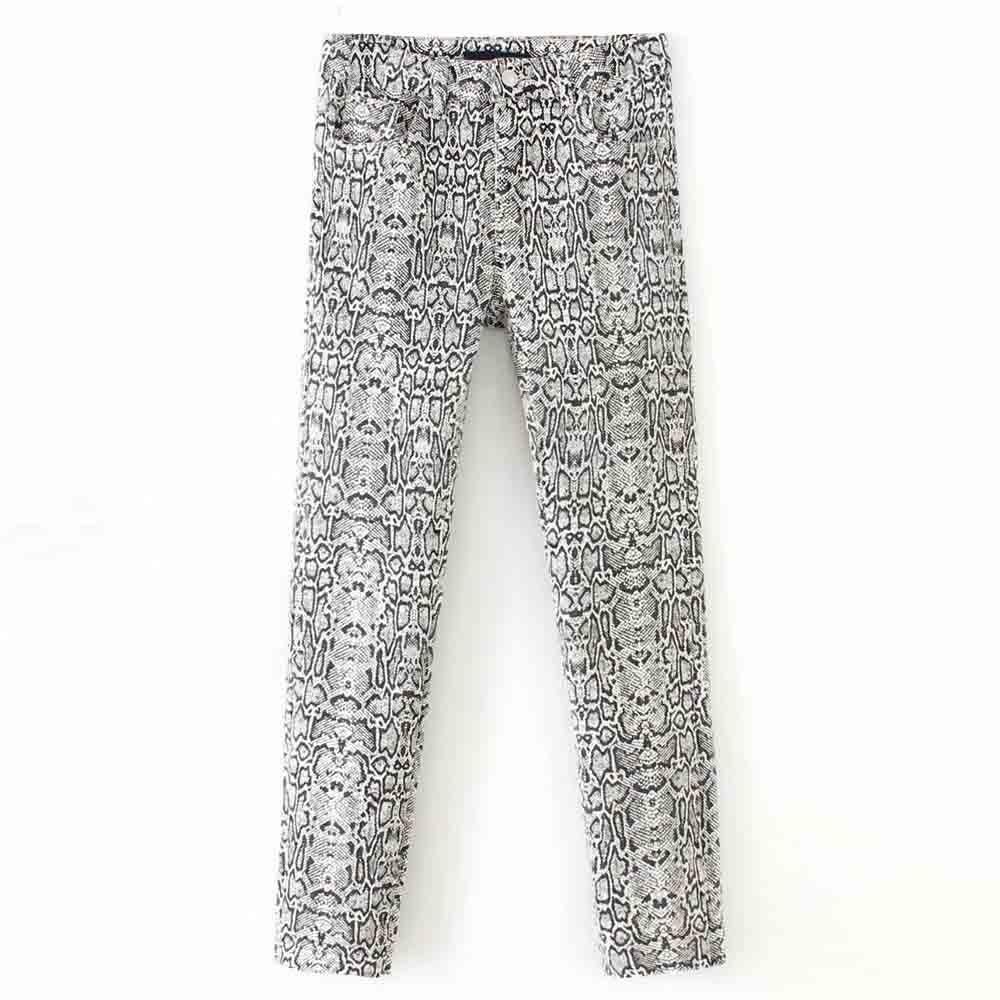 FIRSTTO Vintage Snake Pattern Pencil Pants Pockets Bohemian Tribal African Hippie Skinny Pants Fashion Women Long Trousers