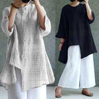 ZANZEA kobiety lniana bluzka 2019 lato jesień bluzka w rozmiarze plus size z długim rękawem koszule w szkocką kratę oversize workowaty na co dzień w stylu Vintage Blusa 5XL