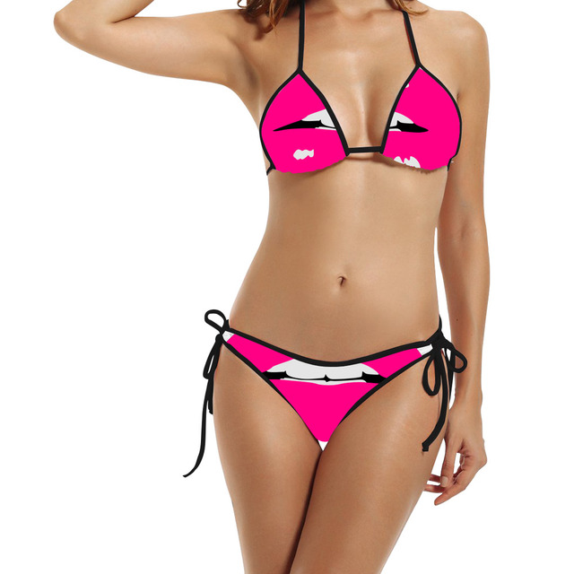 Hipster Sexy Mouth Kiss Tie Dye Swimming Suit For Women Bikinis