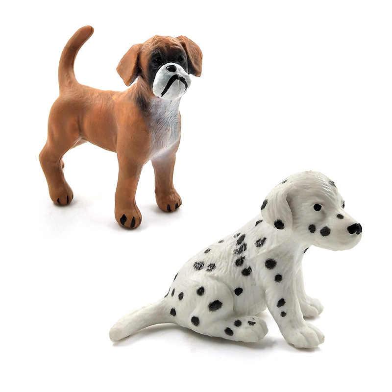 Farm Simulação pequeno cão dálmata pug estatueta cão modelo animal figuras de decoração para casa acessórios de Decoração Presente Para As Crianças brinquedos