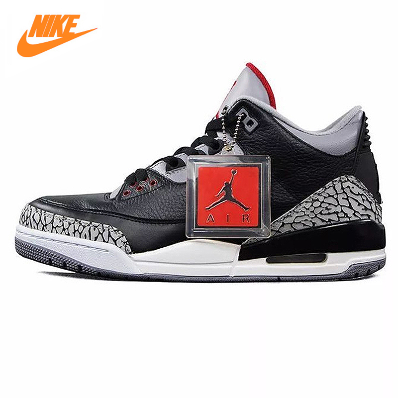 outlet store b3677 50c3f Aliexpress.com : Buy Nike Air Jordan 3 Black Cement AJ3 Men 's Basketball  Shoes Burst Sneakers Sport Shoes 854262 001 from Reliable air jordan ...