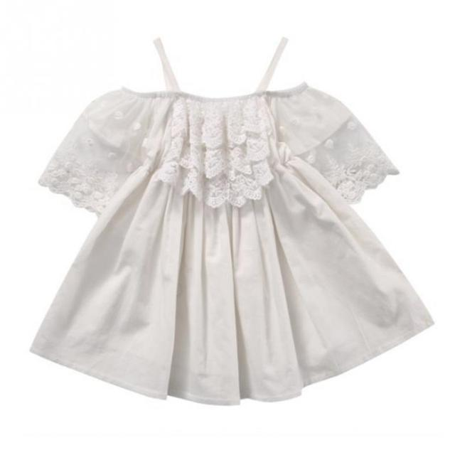 394aadfc9f7a Off shoulder pure white floral lace kids girl dress summer style baby girl  princess beach dress