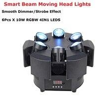 6 10 Вт RGBW 4в1 светодио дный луч света 6 головок уникальный луч движущаяся головка стробоскоп огни DMX 17/38 канал Professional Dj Bar вечерние Party Lights