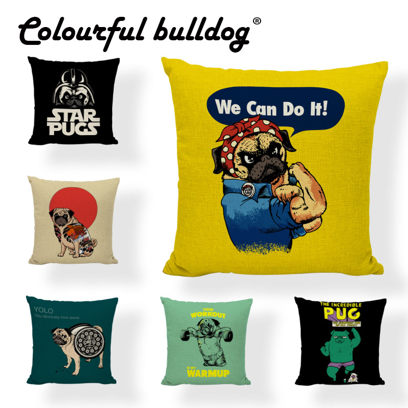 Cuteness Bulldog Fitness Cushion Case We Can Do It Star Pugs Camping Large 17*17Inch Living Room Houseware Decorative Pillow Cas