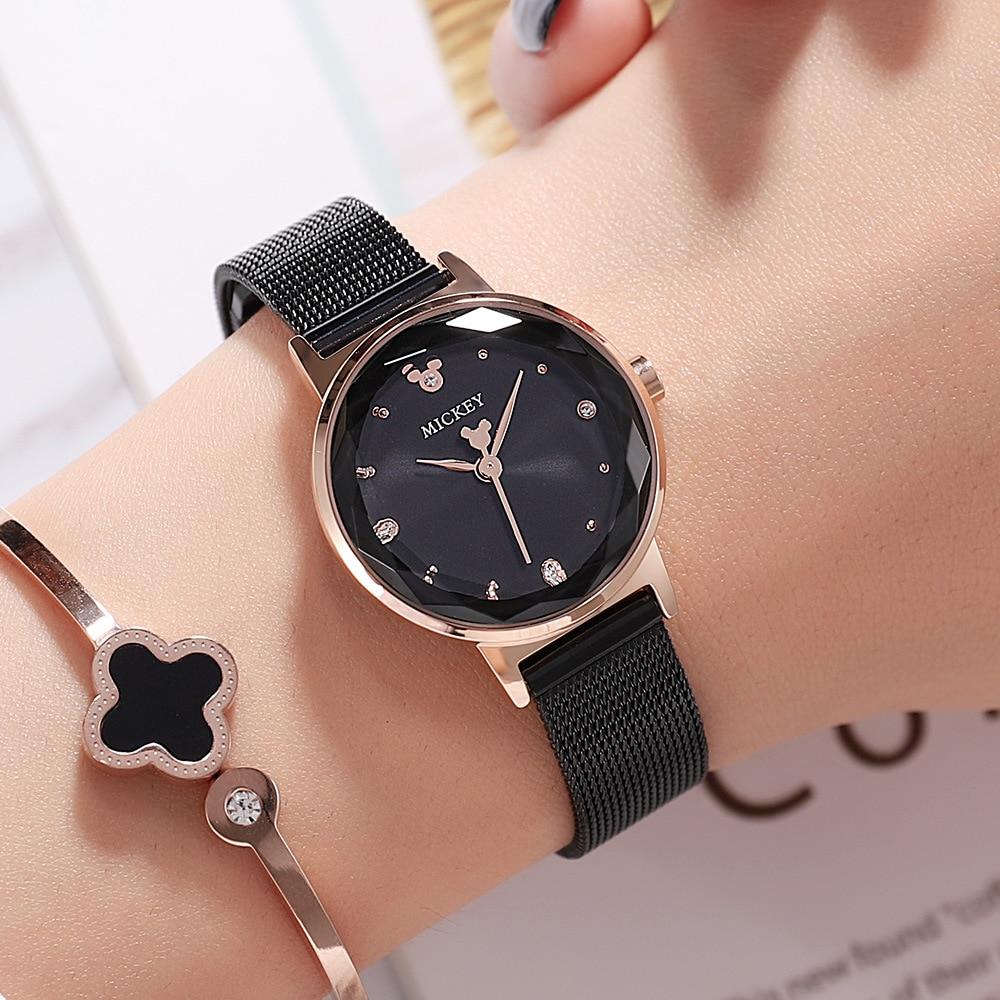 Montres femmes quartz acier inoxydable maille ceinture dames montres-bracelets marque Disney Mickey mouse horloges femme étanche diamant