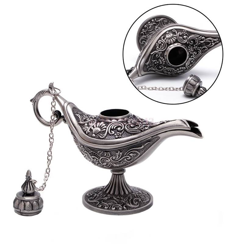 1PC Hollow Carved Aladdin Genie Oil Lamp Zinc Alloy Metal Vintage Pot Arabian Light