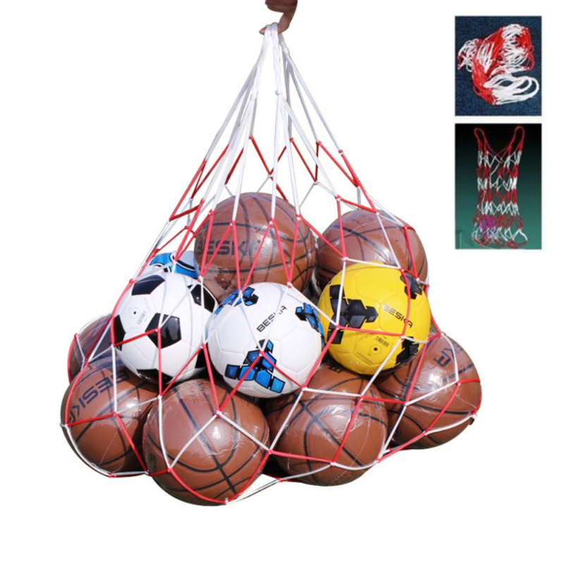Soccer Net 10 Balls Carry Net Bag Portable Football Balls Net Bag School Gymnasium Artificial Weaving Outdoor Sports Accessories