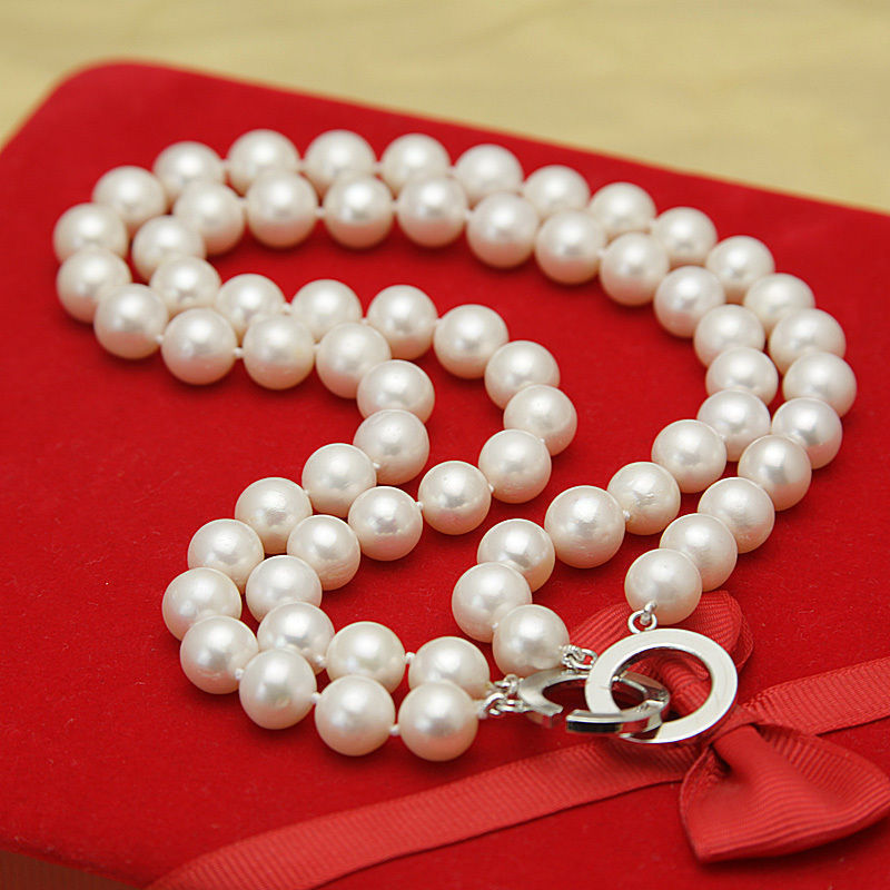 купить 2 rows classic AAA+++ 9-10mm south sea white pearl necklace 18inch