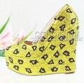 2016 de las Mujeres Personalizadas Golden Yellow Rhinestone Cuñas Del Dedo Del Pie Redondo de La Boda Zapato con Cierre de Bombas de Tacón Alto